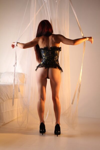 NZ Pleasures. Harley Babe standing with back to camera, legs apart, hands out either side, tied in the ribbons. Harley Babe wears a black and gold corset with black heels and has long dark hair.