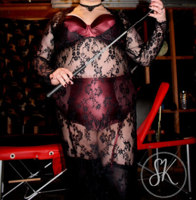 NZ Pleasures. Sir Kit posing with whip in hand. Sir Kit wears deep burgundy lingerie with a black lace dress and stockings.