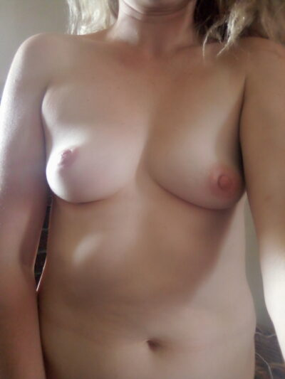 Roxy taking a selfie from out in front of herself, from chin to hips, topless. NZ Pleasures.