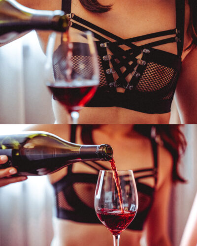 Two photos of Nala Ren's chest in a black mesh bra, pouring a glass of red wine. NZ Pleasures.