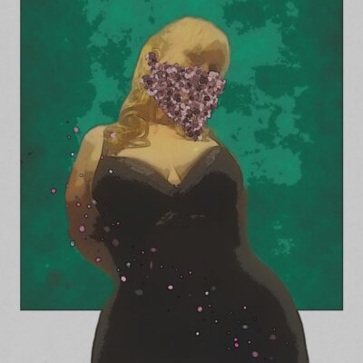 Character image of Mary Jane Honey posing with hand on back of hip, head titled to one side. Mary Jane Honey wears a black sleeveless dress, a face mask and has long blonde hair. NZ Pleasures.