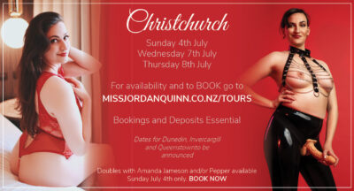 Miss Jordan Quinn's Christchurch July 2021 advertisement. Jordan posing in a red bodysuit one one side and black latex pants with a black and chain top on the other. NZ Pleasures.