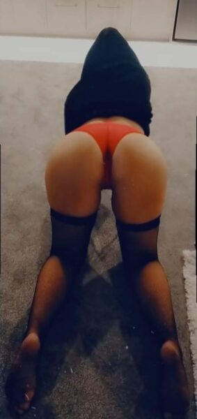 Elly kneeling on hands and knees with buttocks to camera. Elly wears a black hoodie, red panties and black thigh high stockings. NZ Pleasures.